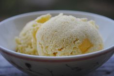 Mango Coconut Ice Cream ... Ingredients include: mangoes, coconut milk, honey.