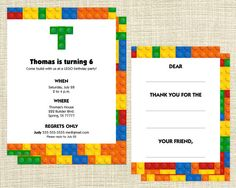 Printable LEGO Birthday Party Package - Invite, Thank You Card