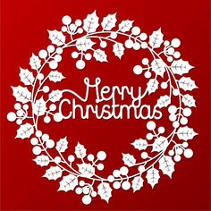 Papercut template holly wreath with Merry Christmas