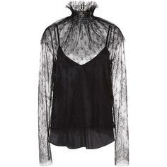 Alena Akhmadullina     Lace Blouse ($1,500) ❤ liked on Polyvore featuring tops, blouses, black, sonia by sonia rykiel, lacy blouses, long sleeve lace blouse, high neck top and long sleeve blouse
