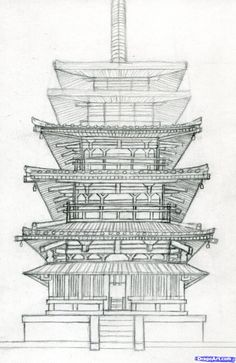 how to draw a pagoda, japanese pagoda step 14