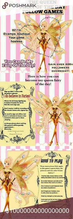 💞@drea04💞 FAIRY Godmother Closet of the Day ♥️Sun 2/18♥️ 💛Fairy Godmother: @drea04⭐️pls share her follow game 5X⭐️ See slides above for more information.  You don't have to be a chosen closet to reap the benefits. FOLLOW FOLLOW FOLLOW, SHARE, SHARE, SHARE for these ladies. You will get follows and shares in return. See my stats for how well it works!! Accessories