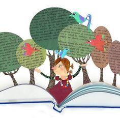Empezamos la semana leyendo, disfrutando de los libros. Puro gozo! Tal vez un poco molestos los pájaros? (ilustración de Susana Rosique Díaz)