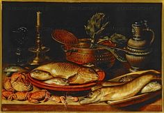 Peeters,Clara  Still-life with fish Wood; 50 x 72cm Cat. 1621  Museo del Prado, Madrid, Spain
