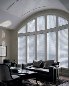 Alustra® Silhouette® Silver Reflection window shadings offer a shimmering radiance to this living room. ♦ Hunter Douglas window treatments