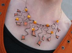 Sparkle stained glass necklace orange jewelry beads - funky statement.