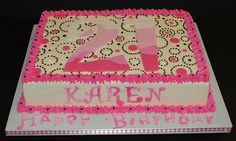 It's an 8x11 cake frosted in buttercream with buttercream piping in brown and pink fondant decorations. Description from cakecentral.com. I searched for this on bing.com/images