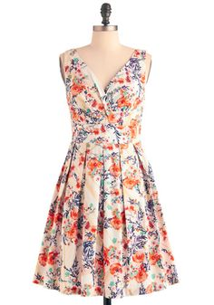 Floral Palate Dress in Fire Bouquet. Your sweetheart has thrown you a rooftop dinner event to celebrate the success of your stunning still life art show opening. #creamNaN