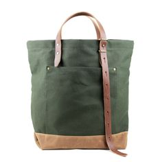 Hansen Tote  Olive Waxed Canvas by TM1985 on Etsy, $165.00