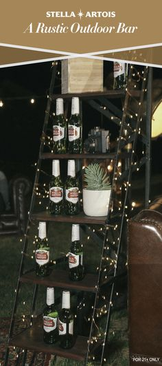 Take your outdoor party to new heights. Use elements from your last thrift store haul to create a simple outdoor bar. Wrap twinkle lights around the legs of a step ladder, then place your beer and small plants on each step. Be sure to chill your Stella Artois two hours before guests arrive.