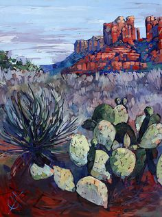 Red Rock Canyon Print featuring the painting Sedona Scrub by Erin Hanson