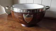 VINTAGE 1920s Oak & Silver Plated PRESENTATION BOWL