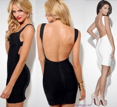 Black Fashion Sexy Women Backless Evening Cocktail Party Club Bandage Bodycon Dress L Event Dresses, Dance Dresses, Sexy Dresses, Camo Homecoming Dresses, Prom Dress, Bodycon Dress, Manga, Types Of Fashion Styles, Clubwear
