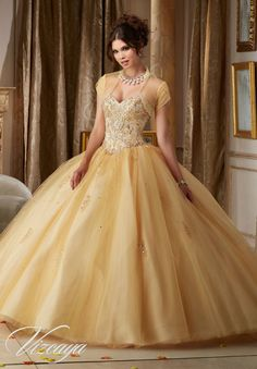 Gemstone Beading on a Tulle Ball Gown #89109 - Joyful Events Store #quincedress #xvdress #morilee #valencia #quinceañeradresses #misxv
