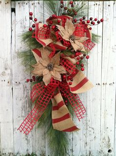 Country Burlap Christmas Swag, Christmas Wreath Swag, Red Holiday Wreath