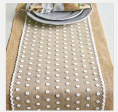 Burlap Lace Table Runner DinnerPartyWedding Table