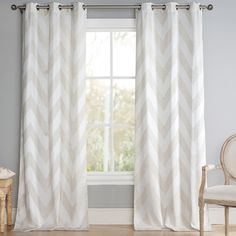 Chevron Grommet Curtain Panel | Joss & Main Chevron Curtains, Grommet Curtains, Drapes Curtains, Diy Home Decor, Interior Decorating, Sweet Home, New Homes, Living Room, Curtain Ideas