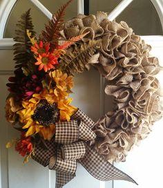 Beautiful Fall Burlap Wreath.