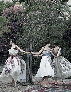 """""""One Enchanted Evening"""" Aymeline Valade, Bette Franke, Elza Luijendjik, Zuzana Bijoch by Peter Lindbergh for US Vogue September 2012"""