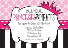 Princess and Pirate Party - ARGH! - Princess and Pirate Birthday Invitation - Printable