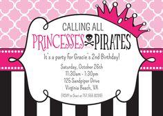 Princess and Pirate Party - ARGH! - Princess and Pirate Birthday Invitation - Printable