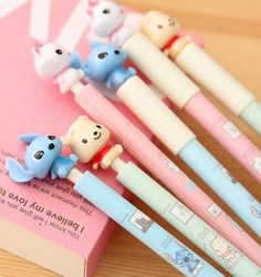 kawaii creative cartoon ballpoint pen cute writing pens for kids / korean school & office supplies cute stationery material                                                                                                                                                      More