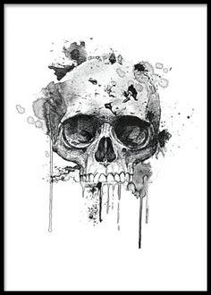 Poster / affisch med svartvit döskalle. Cool svartvit tavla till killrummet. Kranium målat i akvarell. www.desenio.se