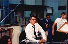 Dean Martin in the studio, a young Glen Campbell on the right.