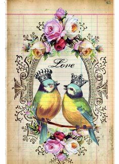 The Love Birds Antique Ledger Paper Collage por dollfacedesign