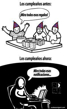 Cumpleaños de antes y de ahora. #tecnologia #humor #caricatura #Internet