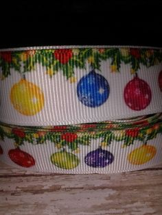 Christmas Ornaments Grosgrain Ribbon by ILoveYouMoreCreation on Etsy