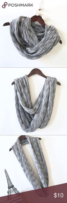 "H&M Cute & Cozy Knitted Infinity Scarf H&M Cute & Cozy Infinity Scarf. Extra wide and soft knitted scarf that is perfect for the coldest winter days. Black, Gray, and White. 30"" width 54"" loop. H&M Accessories Scarves & Wraps"