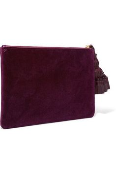 Anya Hindmarch - Georgiana Leather-trimmed Perforated Velvet Clutch - Burgundy - one size
