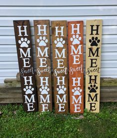 Excited to share the latest addition to my shop: Hand Made - Repurposed - Pallet - Wood Sign- HOME SWEET HOME - Dog Mom - Cat - Paw Prints - Porch sign - Welcome Sign Dog - Entryway decor canvas art simple, fall paintings on canvas, canvas love Wood Pallet Signs, Painted Wood Signs, Wood Pallets, Wooden Signs, Wooden Welcome Signs, Outdoor Wood Signs, Porch Welcome Sign, Cat Paw Print, Sweet Home