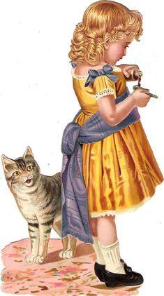 Oblaten Glanzbild scrap die cut chromo Kind child  XL  chat Katze cat  Medizin