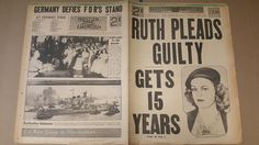 VINTAGE MAY 28 1941 WWII BOSTON AMERICAN NEWSPAPER RUTH PLEADS GUILTY GETS 15