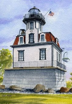 Colchester Reef Lighthouse Shelburne Museum Vermont Watercolor Notecards