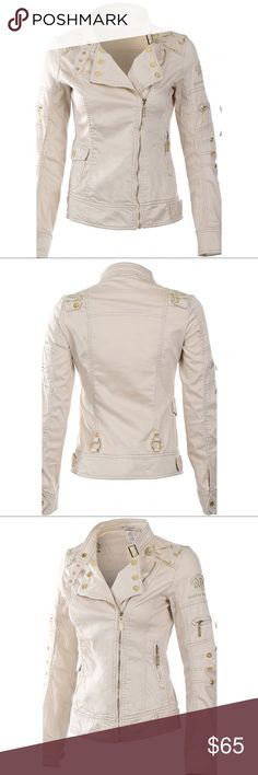 """Embroidered zip up Jacket On Trend cotton- spandex jacket in Beige and gold features a zip front closure with buckle collar, one front snap pocket, one side zipper pocket, gold buttons on snap cuffs, gold detailing on sleeves, beautiful Embroidered shoulders. Approx measurements: length: 22"""". S 32-28-34, M 34-30-36, L 36-32-38 Jackets & Coats"""