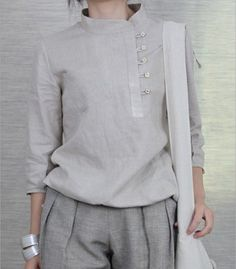Side Buttons Round Collar Linen Shirt japanese minmalist chic in neutral colours en trend fashion style casual wear for alice on the run Linen Dresses, Casual Dresses, Inspiration Mode, Mode Hijab, Blouse Designs, Work Wear, Fashion Dresses, Clothes For Women, My Style