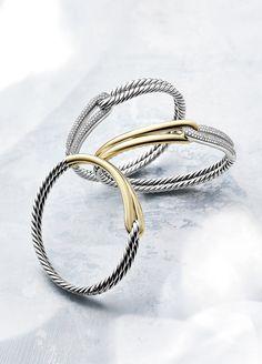 Labyrinth bracelets with 18k gold and diamonds.