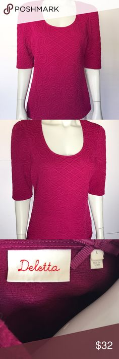 • Anthropologie • berry colored blouse Gorgeous pink scoop neck top. Elbow length sleeves on this textured shirt. So soft and comfortable! Subtle pattern adds elegance to this lovely shirt. Very pretty and versatile! Anthropologie Tops Blouses