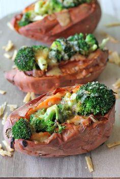 Broccoli Cheese Stuffed Sweet Potatoes