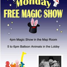 Free Magic Shows Select Mondays this summer. Please go to our website or facebook for more details