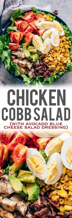 This is a classic layered chicken cobb salad recipe that has all the right fixings that includes lettuce, boiled eggs, grilled corn, bacon, grilled chicken, tomatoes and avocado! Serve this with a creamy avocado blue cheese dressing that's made with greek yogurt and you have dinner sorted. This isn't just a salad, it's a meal! Perfect for a crowd. Use steak instead of chicken or make it vegetarian #salad #recipe #chicken #dinner #easy via @my_foodstory
