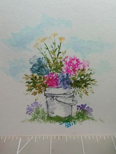 A watercolor picture created with Art impressions stamps.