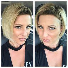 @dillahajhair ... thank u for my haircut ! # #newdo #cleanupwithdetail #shorthair #shaved #undercut #bob #blondebob #thestandard #hairstylistlife #cutyourownhair #friendshelpfixthings