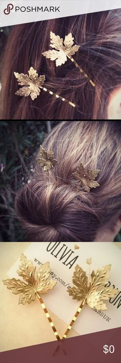 Gold Maple  Leaf Hair Pin Barrette Clip Pair Gold Maple  Leaf Hair Bobby Pin Barrette Clip --- Listing is for 2 Boutique Accessories Hair Accessories