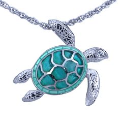 Check out the deal on Guy Harvey Sea Turtle Necklace Enameled & Crafted in Sterling Silver with 18 Inch Adjustable Chain at Guy Harvey Jewelry