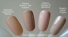 Deborah Lippmann Naked ; Essie Brooch The Subject ; Essie Topless & Barefoot ; Essie Sand Tropez