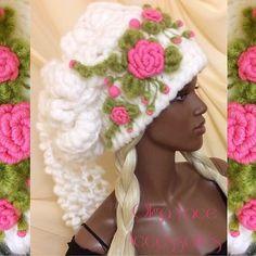"""Купить Вязаная шапка """"Розочки"""" от Olga Lace - вязаная шапка, объемная шапка, белая шапка"""